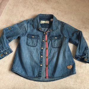 Zara baby girls denim shirt 12-18 months